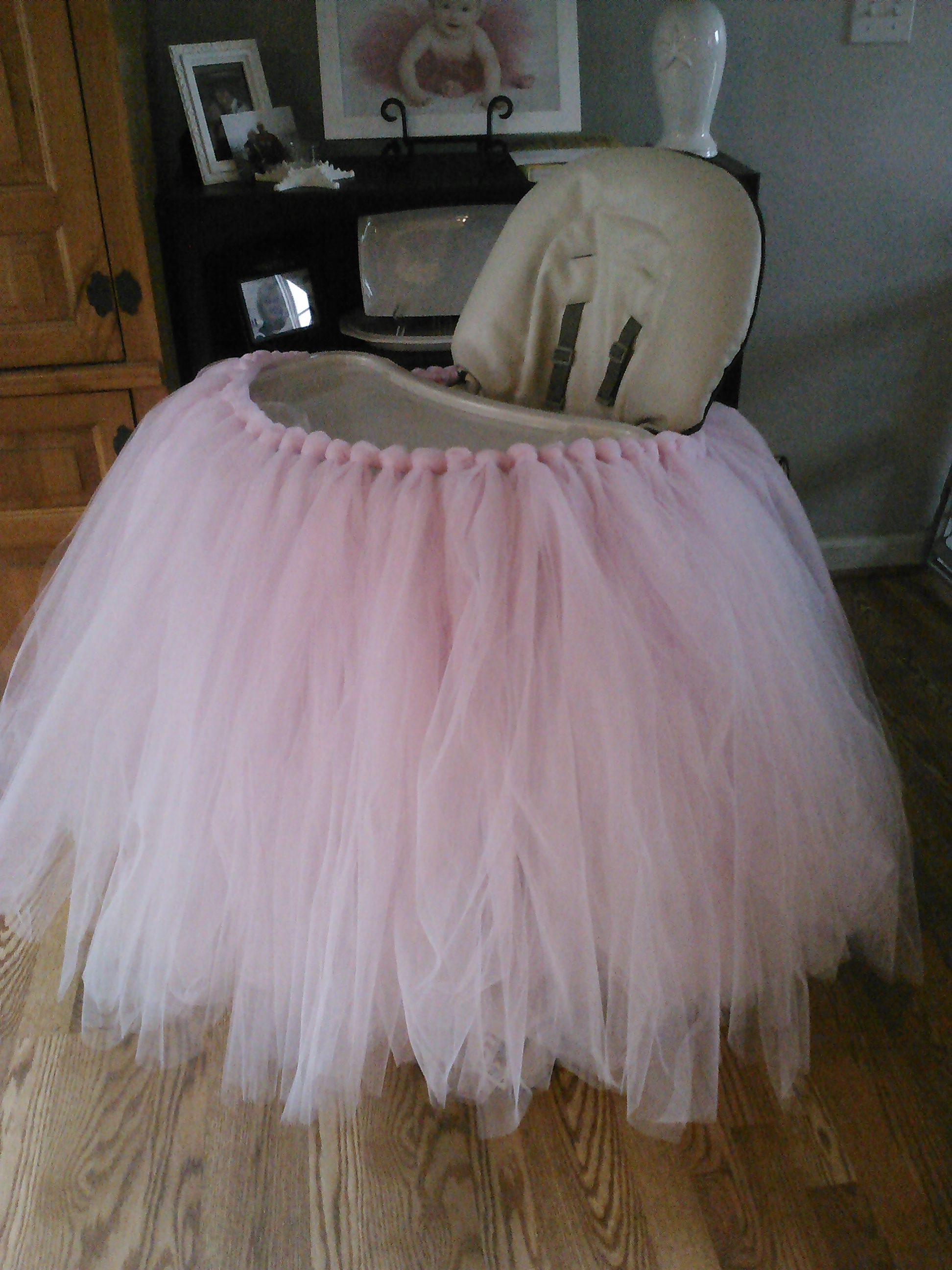 high chair tutu white accent chairs under 100 highchair skirt homemade for abby 39s 1st birthday