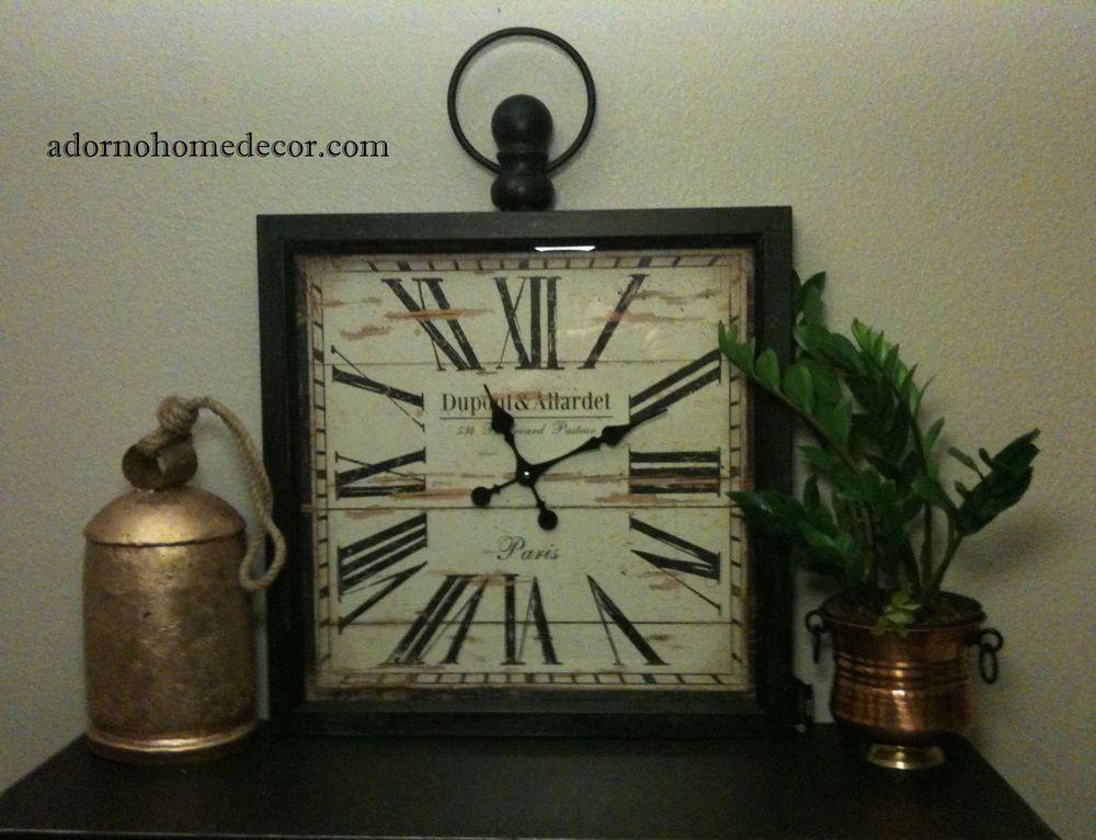 Details About Large Metal Square Wall Clock PARIS RUSTIC