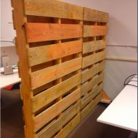 Our Awesome new office partitions made with pallets ...
