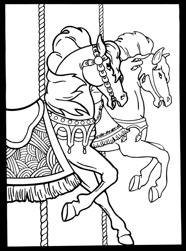 Carousel Horses Stained Glass Coloring Book Dover