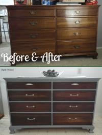 Old dresser makeover with gray paint, dark walnut stain ...