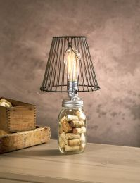 Love this Edison bulb and wire lamp shade look