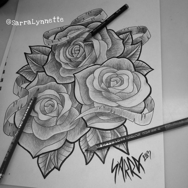 Black And White Rose Drawing Sarra Lynnette Artwork