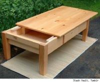 Coffee table with a sliding top to reveal the hidden ...