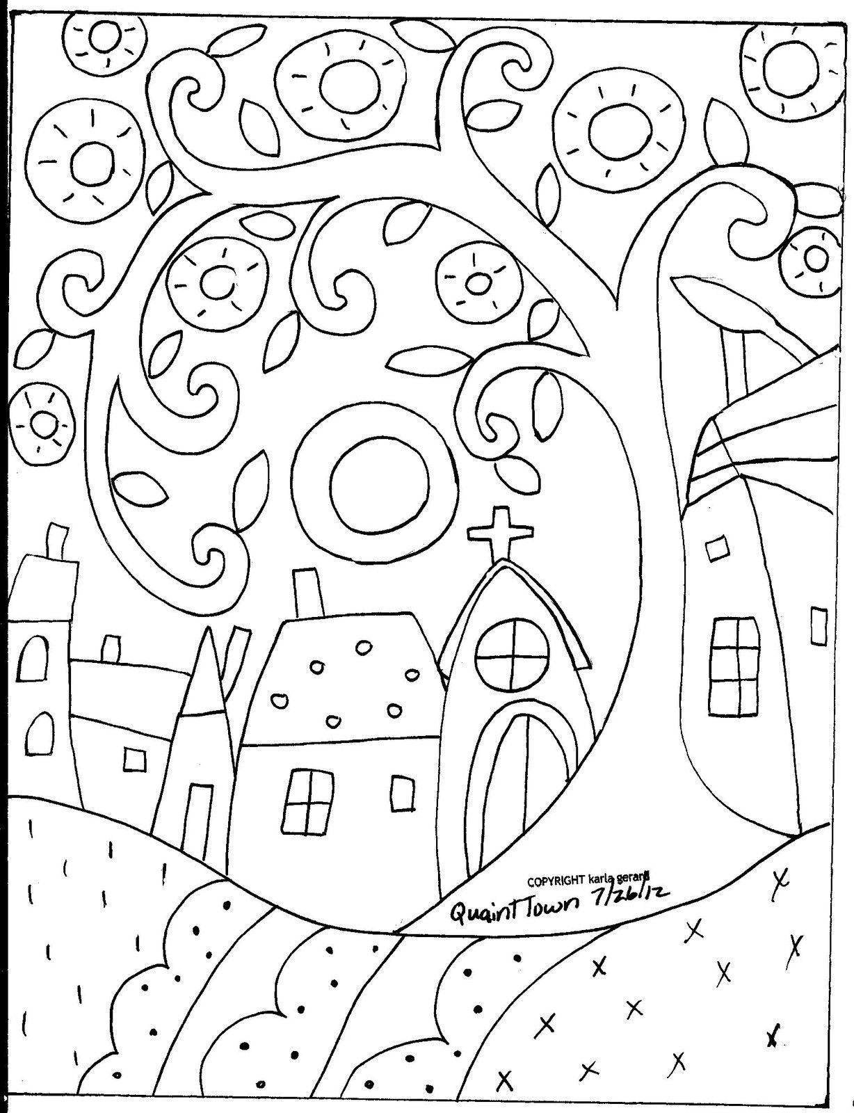 Details About Rug Hooking Paper Pattern Quaint Town Folk Art Modern Primitive Unique Karla G