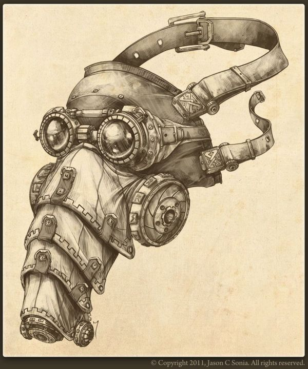 Steampunk Gas Mask Drawings