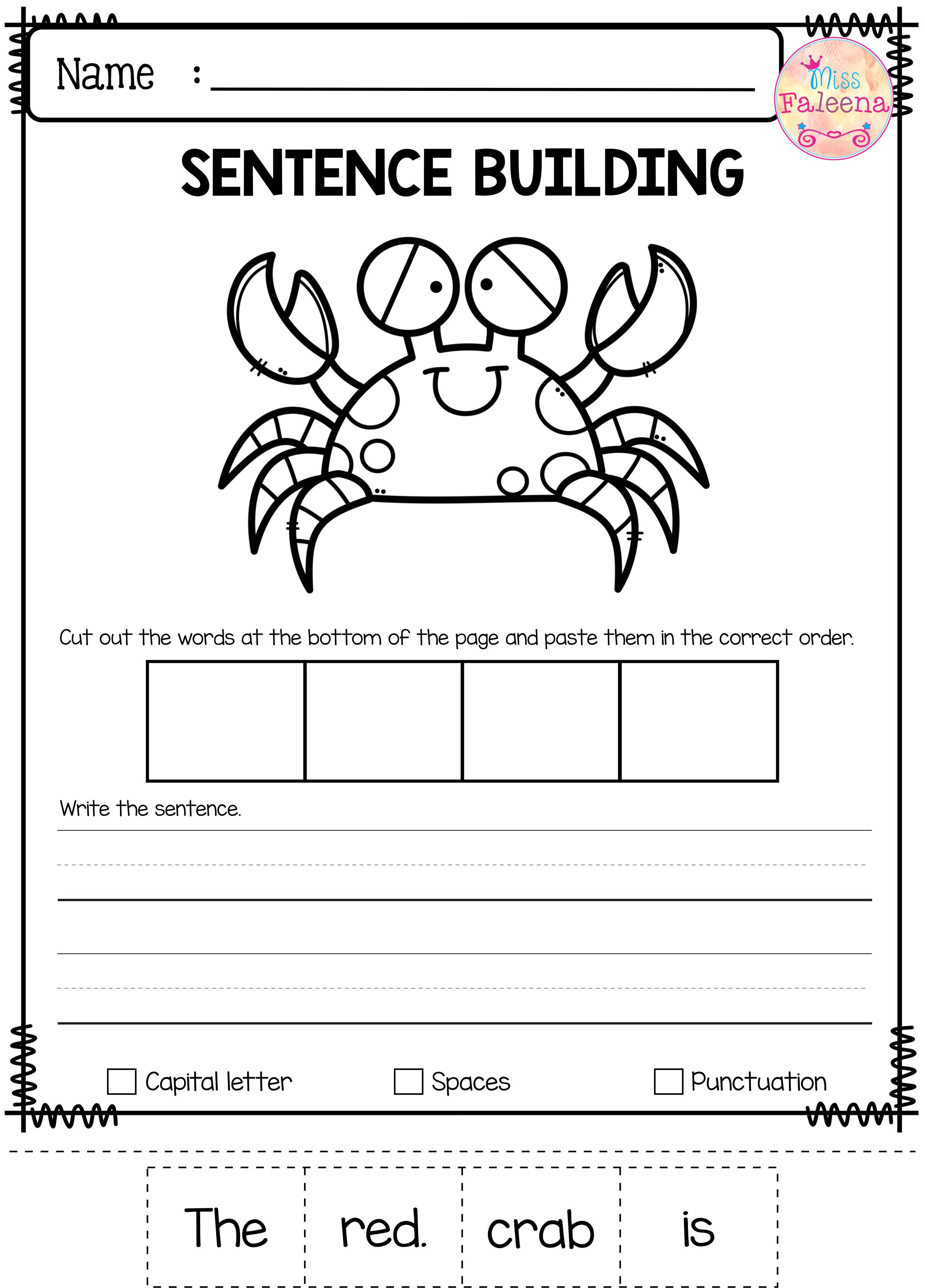 There Are 10 Pages Of Free Sentence Building Worksheets In