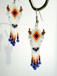 White Buffalo Earrings, brickstitch, native american
