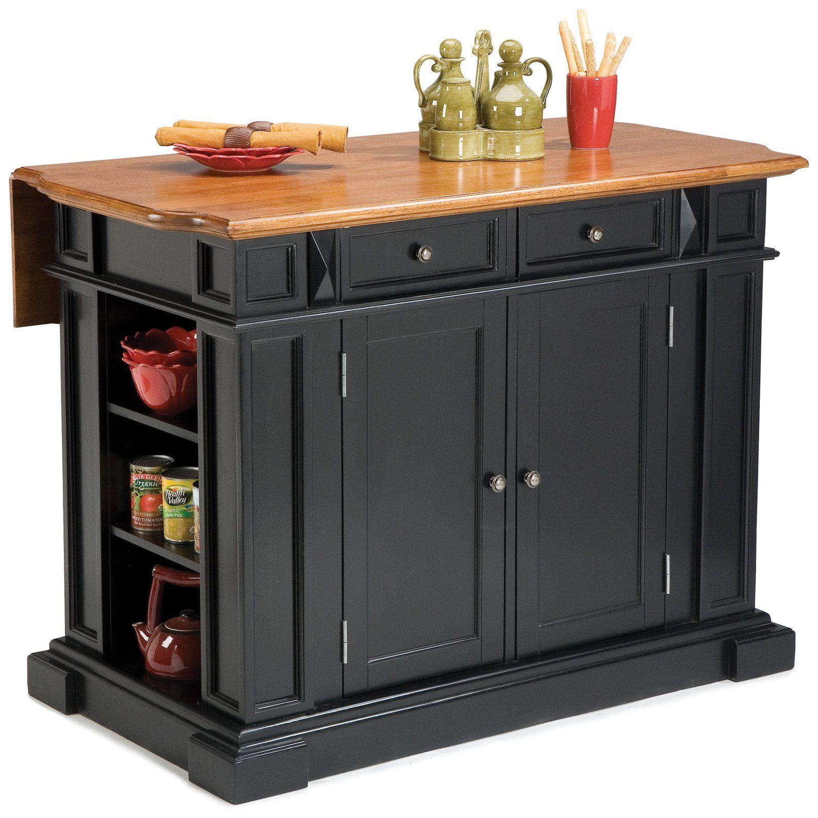 Home Styles Black And Oak Finish Large Kitchen Island Kitchen