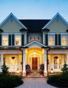 Very similar to the house plan  found although this home has french doors leading out onto front porch instead of bay windows and  couple extra also love cut roof line  both porches sweet rh pinterest