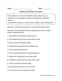 Noun Phrases Worksheets | Englishlinx.com Board ...
