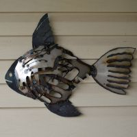 Recycled metal fish wall art - Mosaic rustic fish - Scrap ...