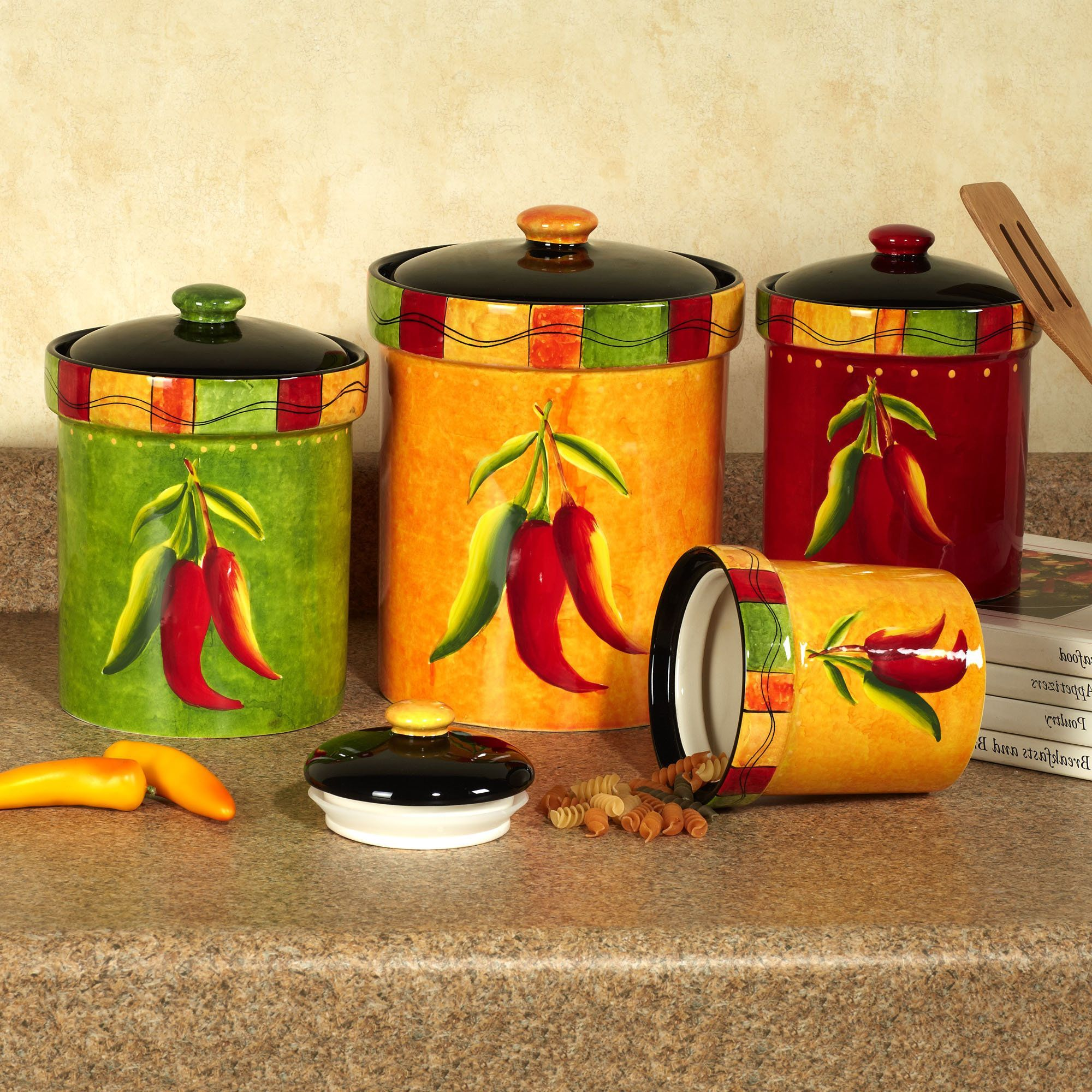 colorful kitchen accessories aprons chili pepper decor of nice