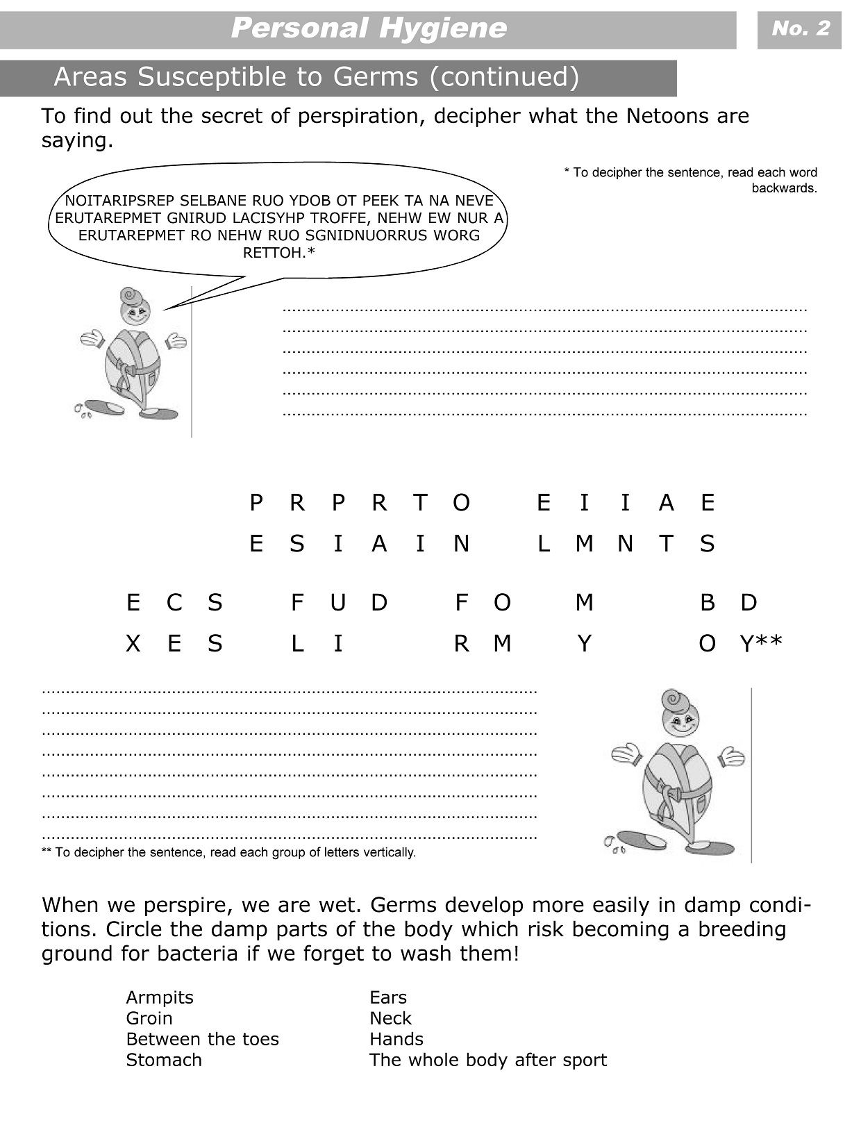 Personal Hygiene Worksheets For Kids Level 3 2 Classroom