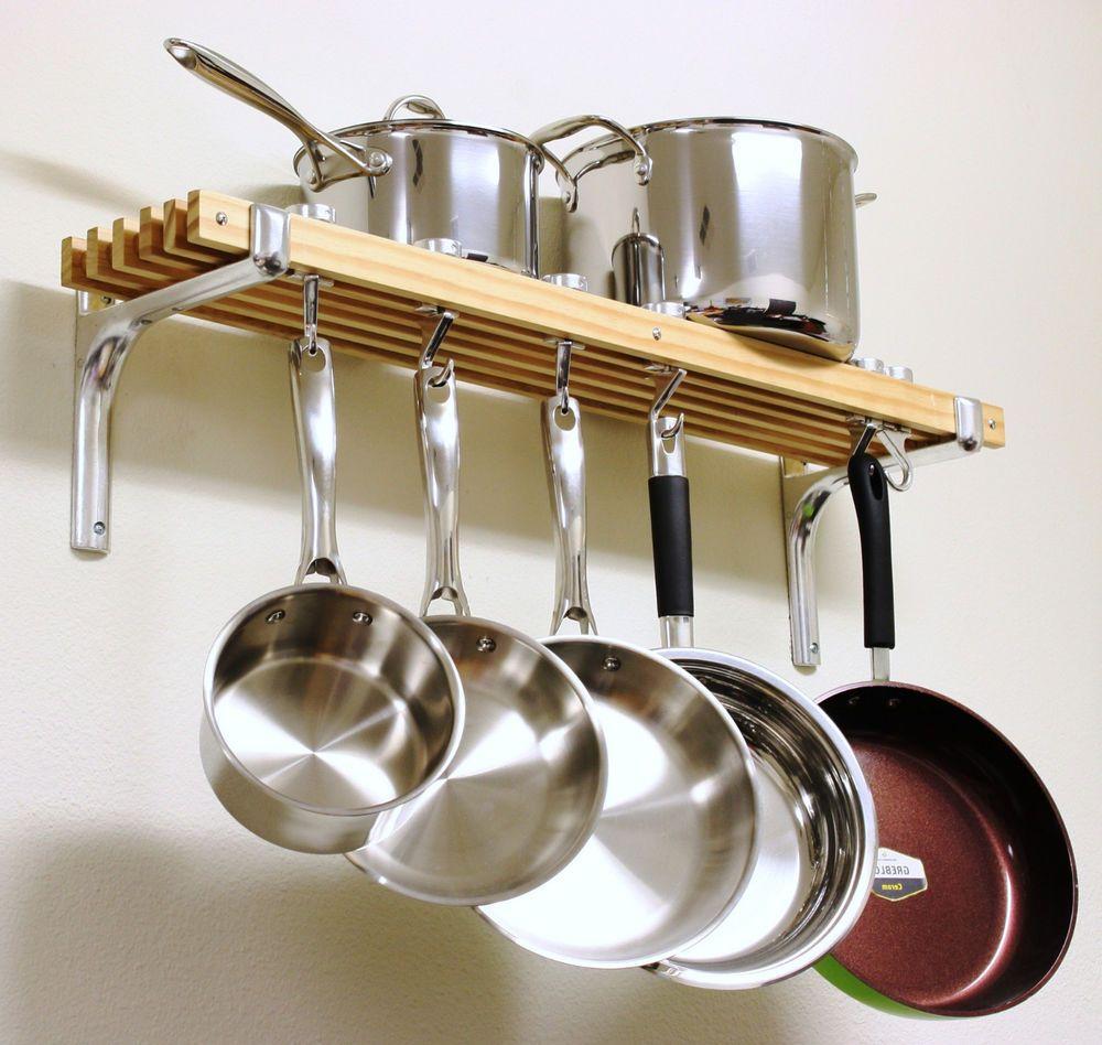 Wooden Shelf Pots Pans Hanger Wall Mount Rack Cookware