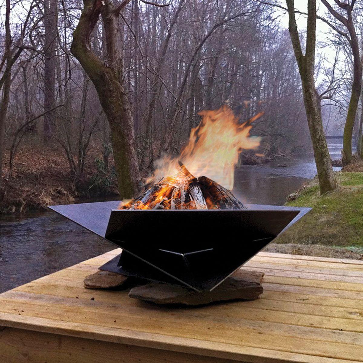 Corten Steel Origami Fire Pit 48In from Thos Baker