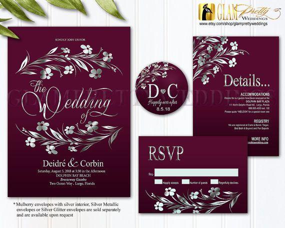 Burgundy Amp Silver Foil Wedding Invitation By