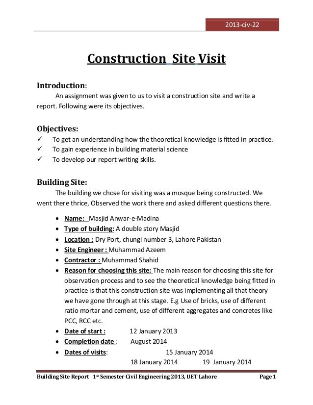 resume construction site incident report sample