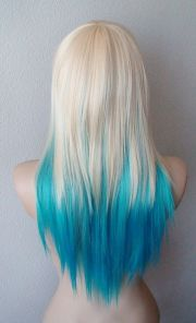 blonde teal turquoise ombre wig