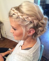 Wedding hair Priory cottages Bridal updo Plait plaits