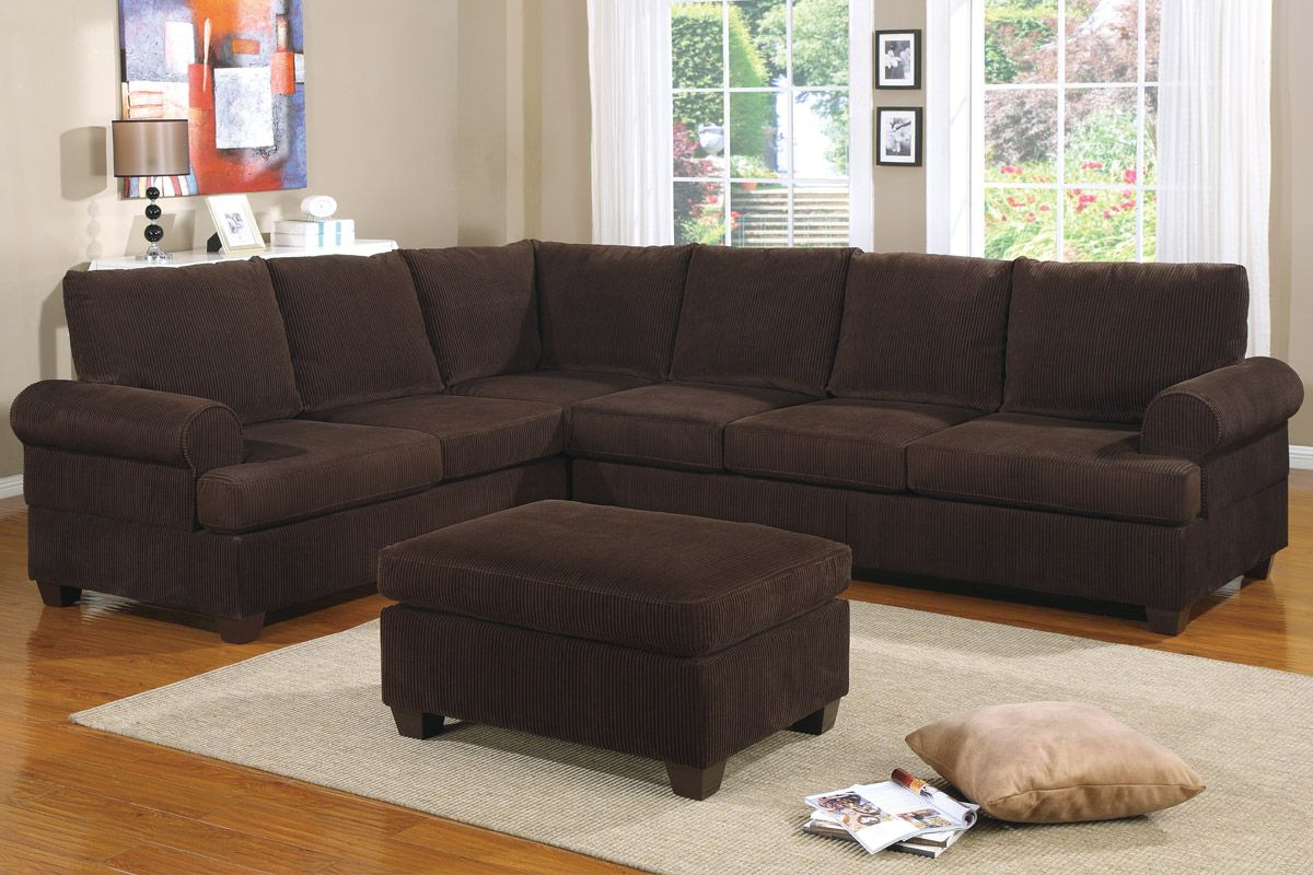 corduroy fabric sofa dania sofas under 999 reversible l shape couch in deep chocolate finish