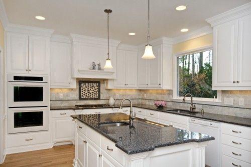 white kitchen cabinets blue countertops Blue Pearl Granite Countertop : White Kitchen Cabinets