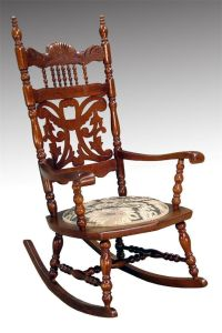 16015 Antique Victorian Carved Oak Press Back Rocker ...