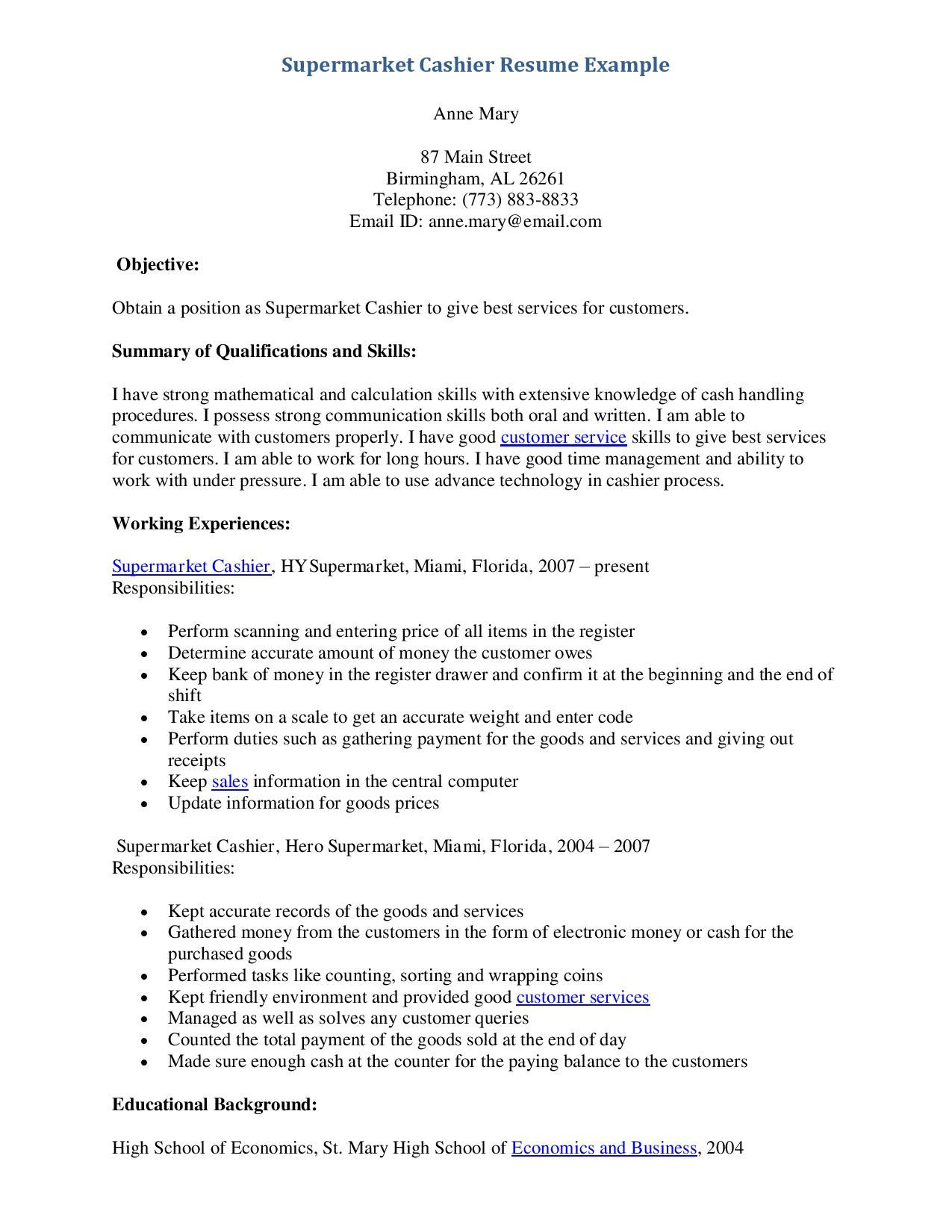 Supermarket Resume Examples Examples Of Resumes