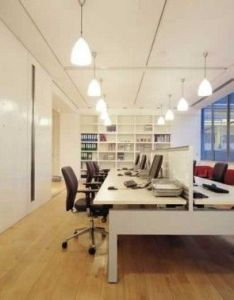 Office interior designs with color block theme black swivel chairs simple chandeliers white bookshelves desk also commerical design pinterest rh
