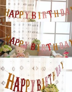 Colorful letter shining happy birthday flags bunting banner garlands for kids boy girl baby party also rh pinterest