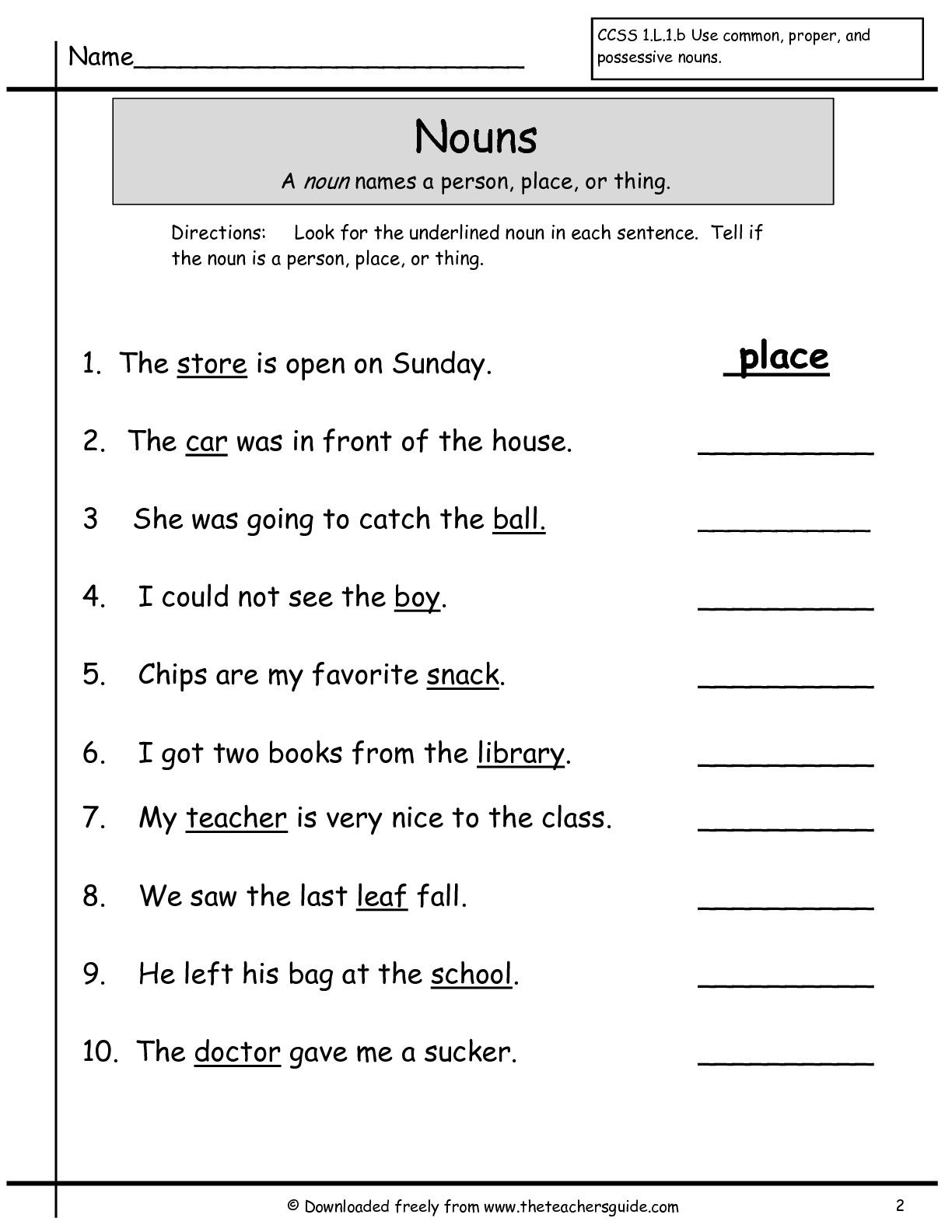 Nouns Grade 1 Worksheets
