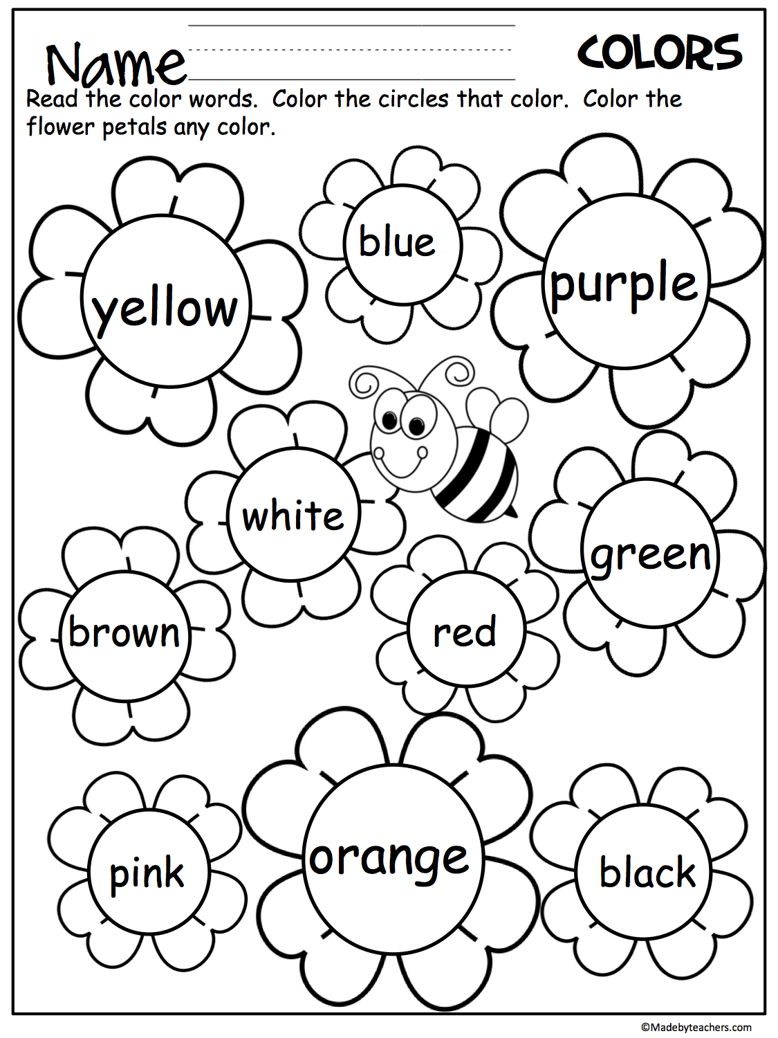 Free Flower Color Words Worksheet Great For The Spring