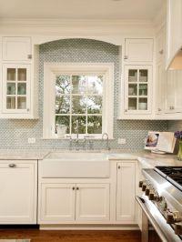 Apron Sink Design, Arched millwork, upper cabinets, white ...