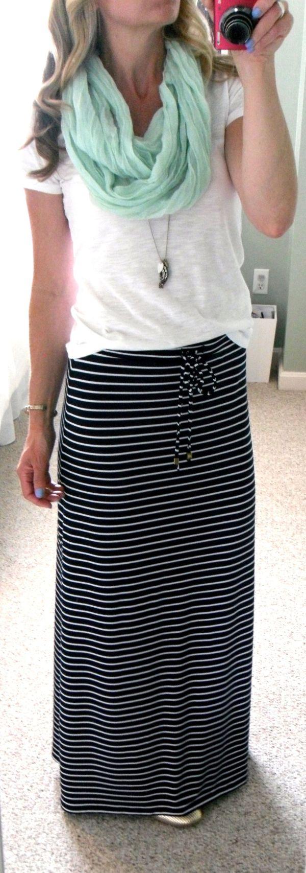 Michael Kors Navy Blue And White Stripe Maxi Skirt F21