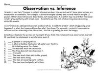 Observations vs Inferences: Students look at a picture and ...