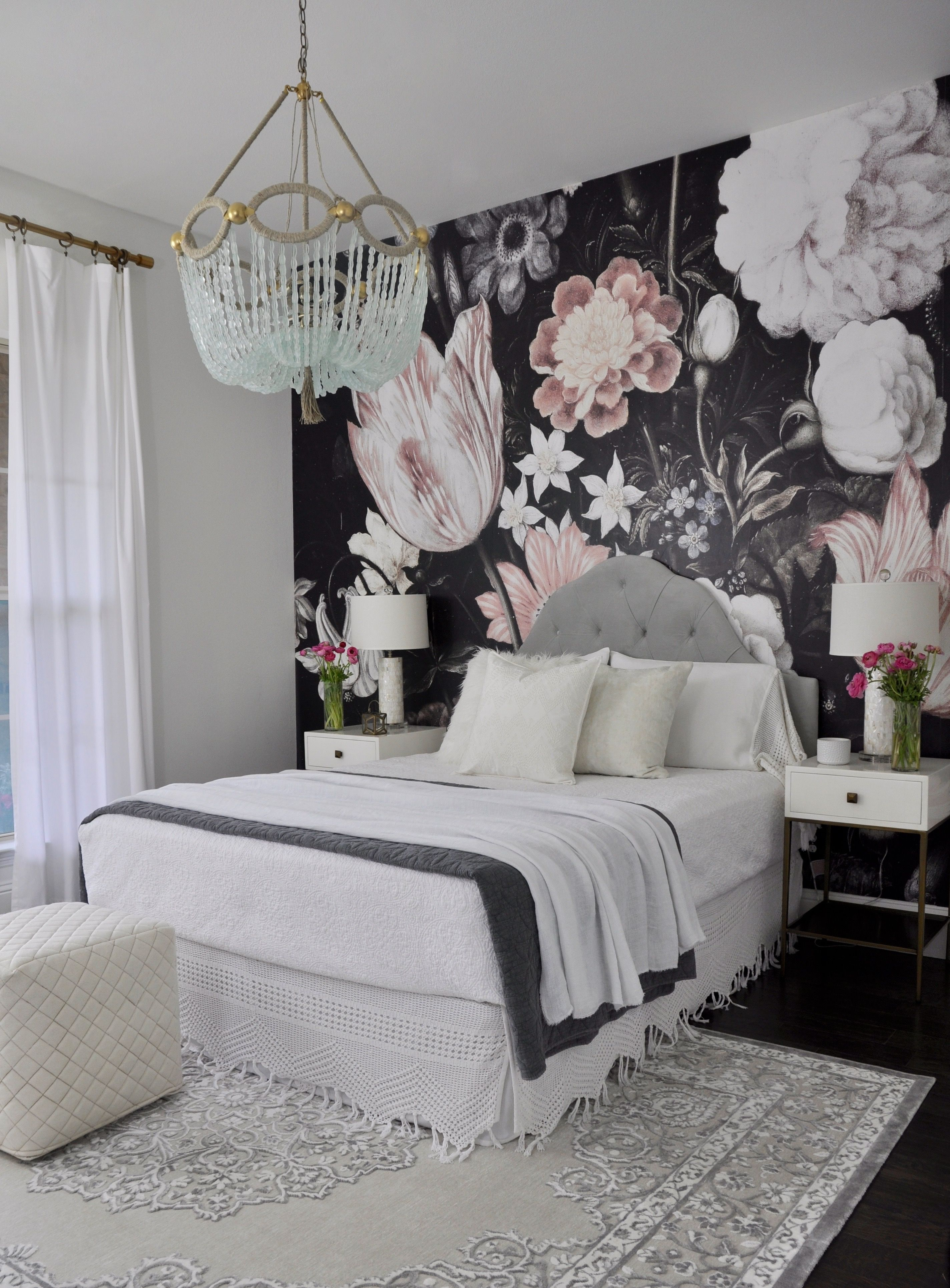 Beautiful guest bedroom with floral wallpaper also one room challenge the reveal wallpapers bedrooms and rh au pinterest