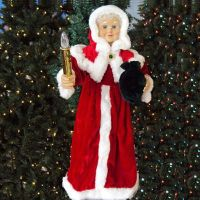 """24"""" Animated Red Mrs. Claus W/Lighted Candle 