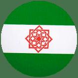 Icono de bandera andaluza con estrella tartésica e inscripciones en árabe