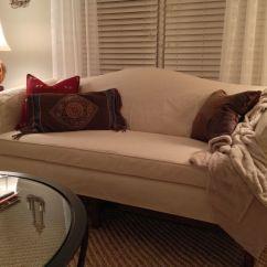 Camelback Sofa Cover Leather Sofas Hamilton Ontario Slipcover For Camel Back With Contoured Arms