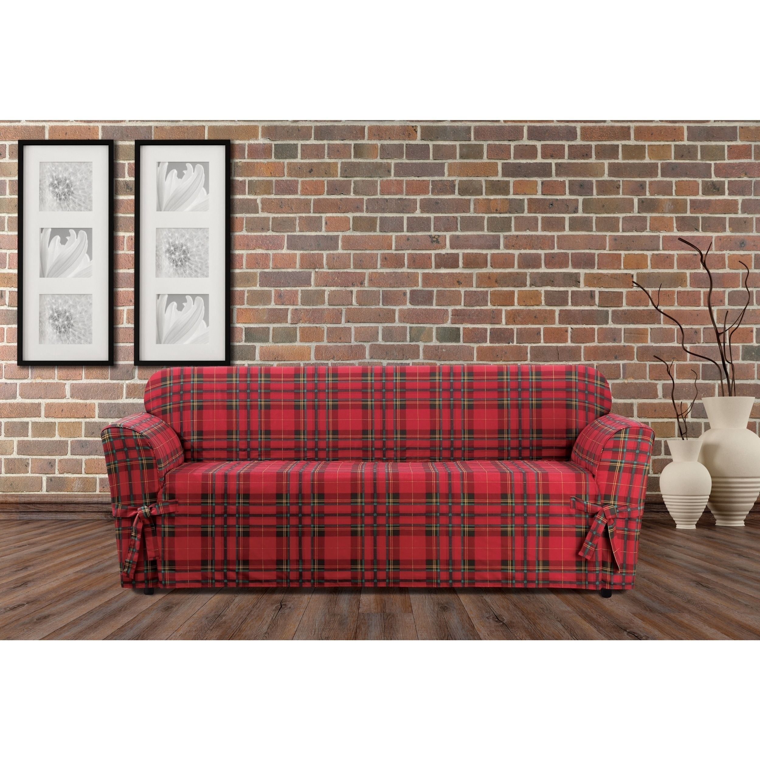 buffalo check sofa cover gray furniture sure fit highland holiday plaid slipcover red