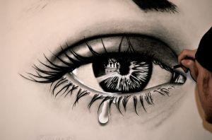 crying eye eyes drawing sad drawings realistic pencil sketch eyeball unbelievable cool creepy