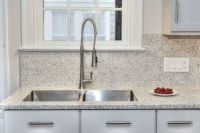 Neutral white kitchen design with Vetrazzo recycled glass ...