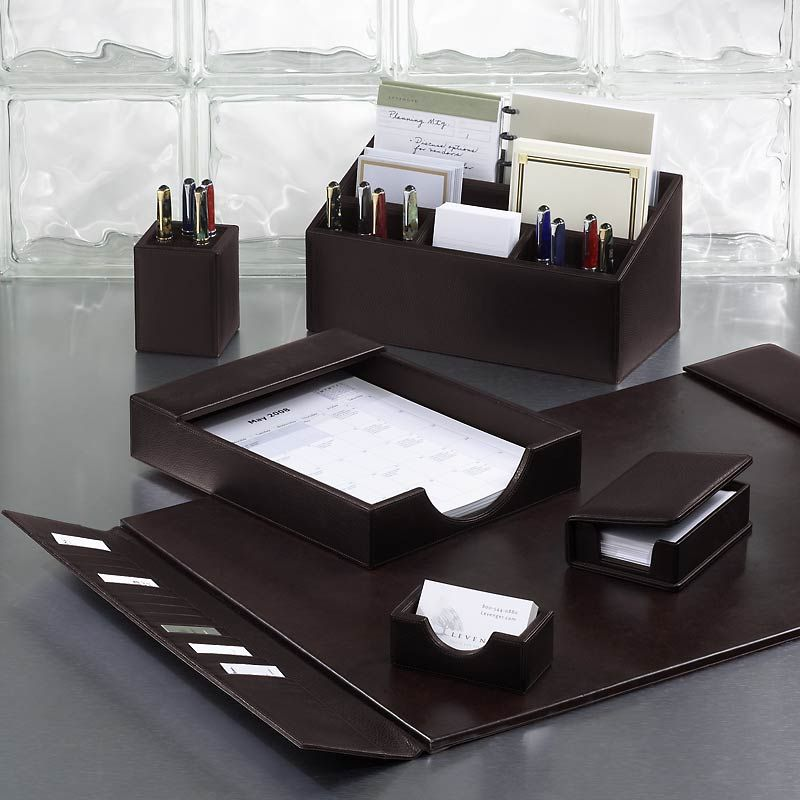 Bomber Jacket Desk Set Six Pieces  Leather Desk