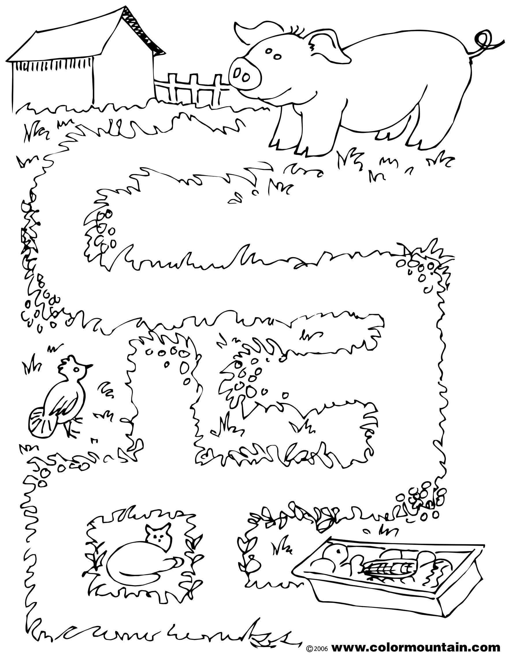 Maze Pig 1 Coloring Page