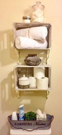 French Country Farmhouse Bathroom Storage shelves & decor ...