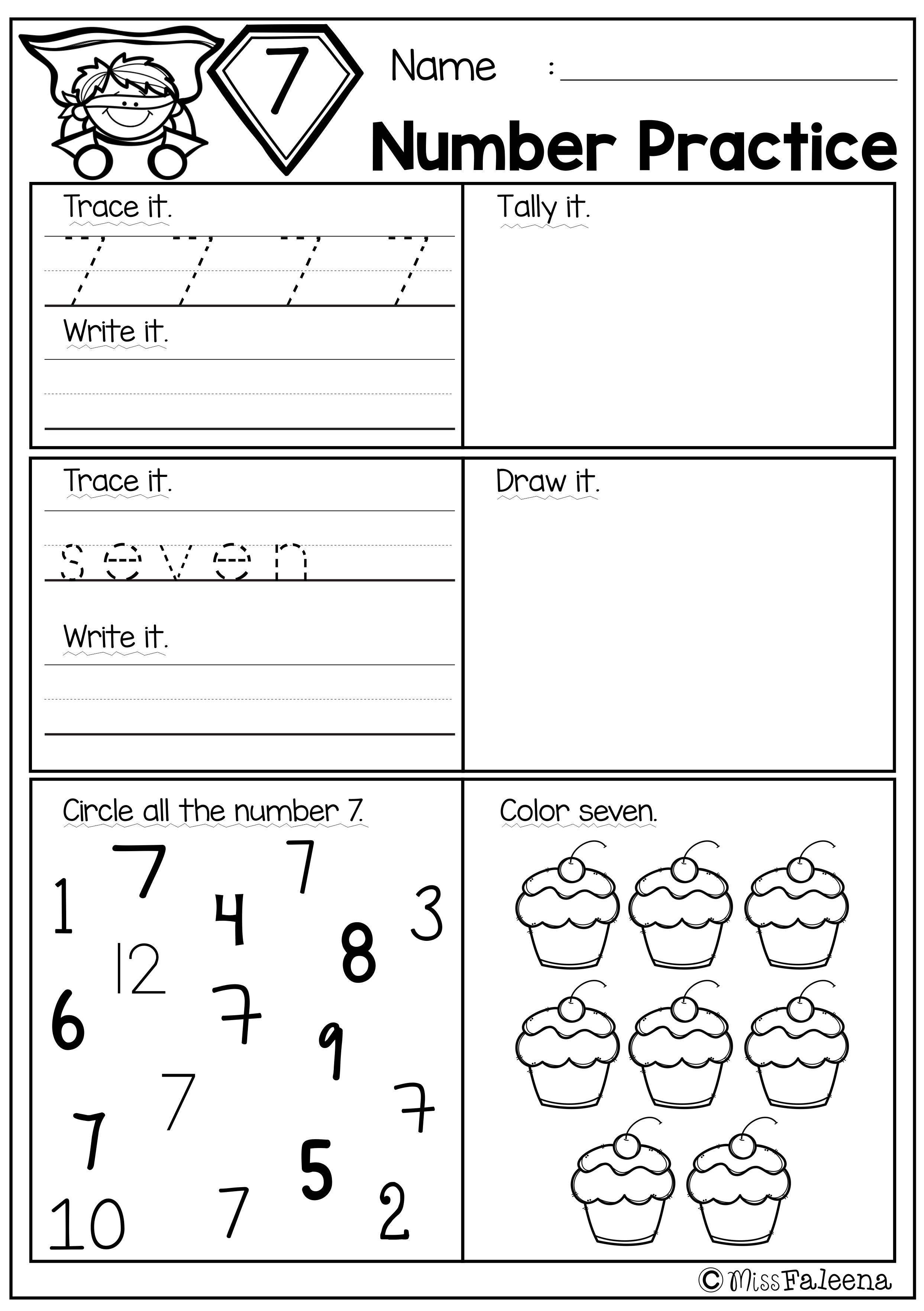 Free Number 1 20 Practice This Product Is Great For Pre K Kindergarten And First Grade