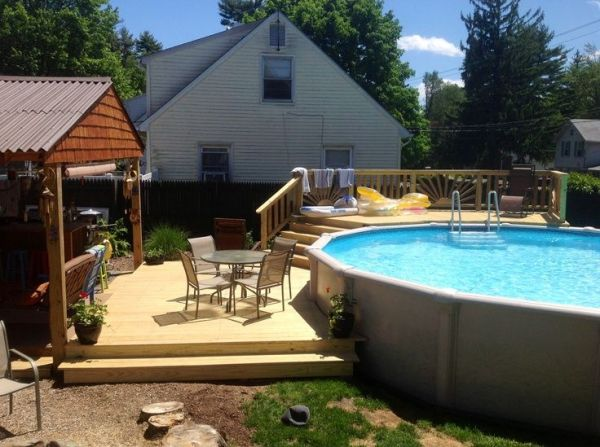 backyard above ground pool landscaping