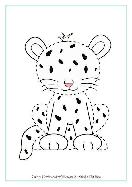 Cheetah Tracing Page Pre K And Kindergarten Printables