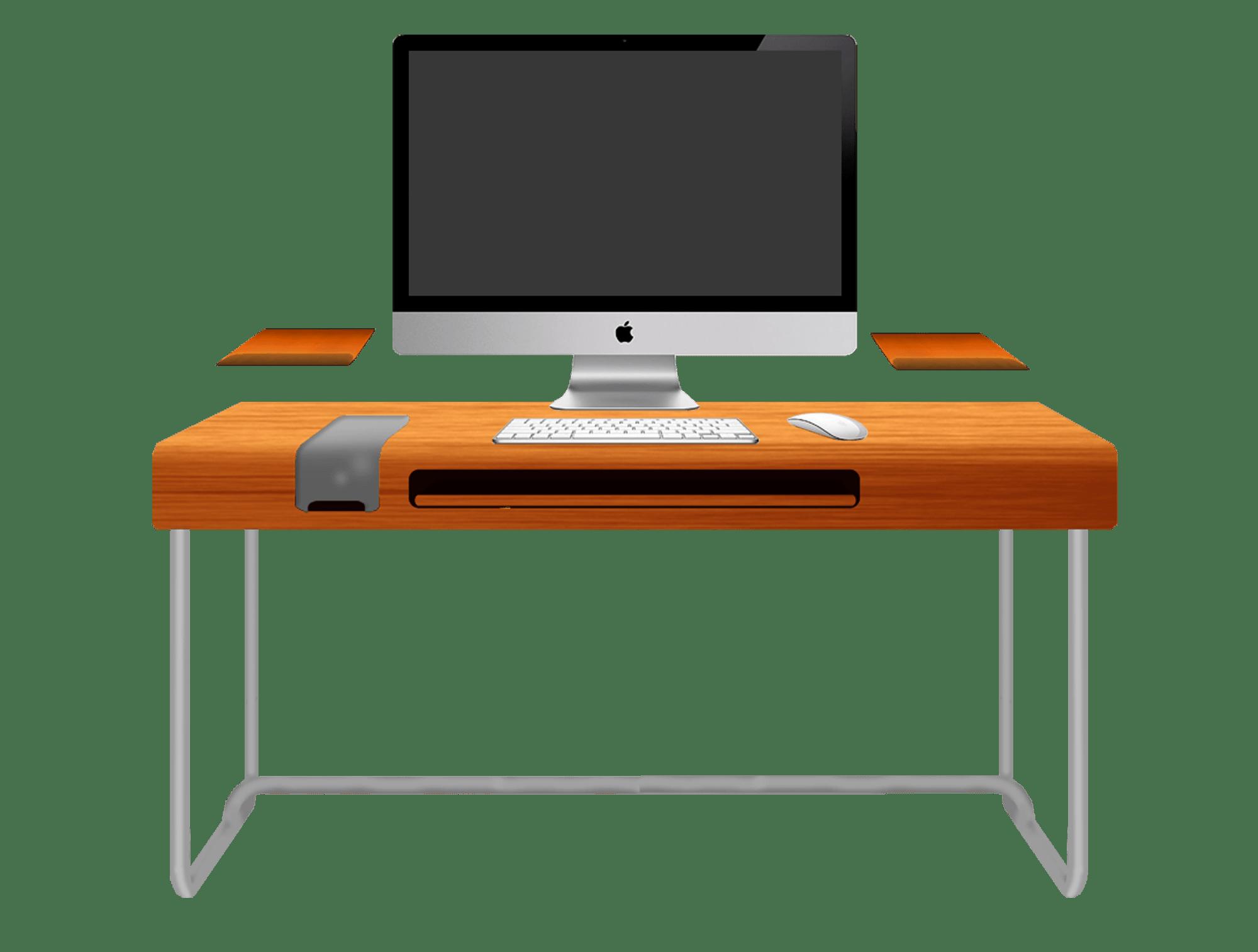 Modern Orange Computer Desk Design With Black Keyboard And