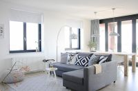 Grey sectional sofa living room scandinavian with white ...